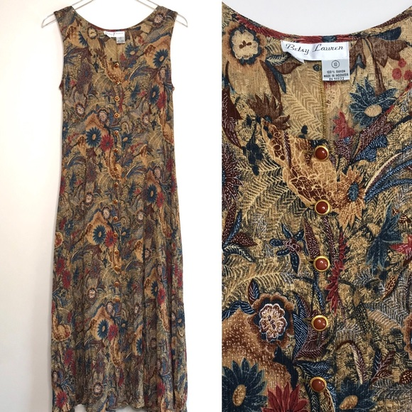 Vintage Dresses & Skirts - Vintage Maxi Button Front 90s Mom Sheath Dress